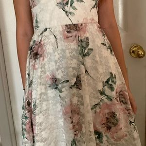 White lace skater dress with floral print